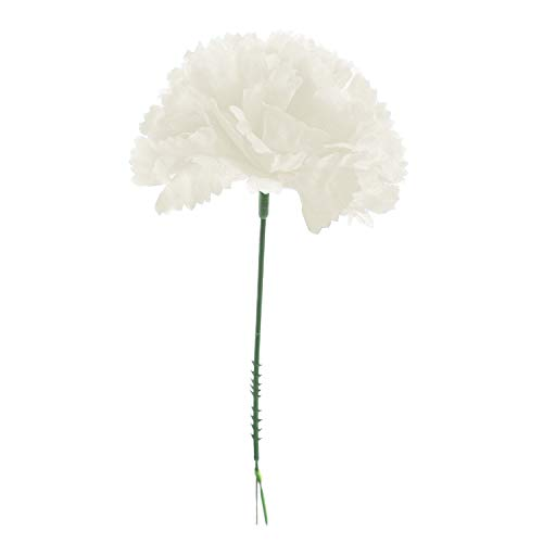 Royal Imports 100 Ivory Silk Carnations, Artificial Fake Flower for Bouquets, Weddings, Cemetery, Crafts & Wreaths, 5