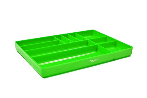 Olsa Tools | Tool Box Organization | Plastic Tray Organizer for Parts & Tools | 10-Compartments (GREEN) (Tool Plastic Tray)