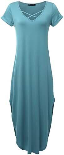 Prime Hot JayJay Women Casual Maxi Stripe Print Spagetti Strap Pocket Long Dress