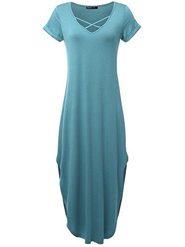 JayJay Women Caged Neck Short Sleeve Pocket Loose Fit Bogo Maxi Dress,VINTAGEBLUE,M