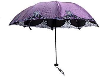 Lace Windproof Umbrella Rain Women Parasol Anti Uv Travel Portable Sunscreen Man Umbrella Black Coating,Purple
