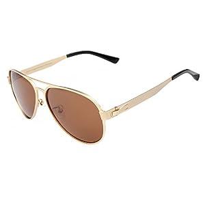 DUCO Premium Flexible Aviator Style Polarized Sunglasses 100% UV protection 3028 (Gold Frame Brown Lens, 58)
