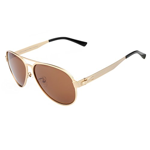 DUCO Premium Flexible Aviator Style Polarized Sunglasses 100% UV protection 3028 (Gold Frame Brown Lens, - Glasses Uv 100 Clear Protection