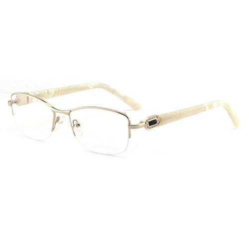 OCCI CHIARI Women Shining Rectangular Metal Optical Eyewear Frame With Clear Lenses (Gold,53-16-140)