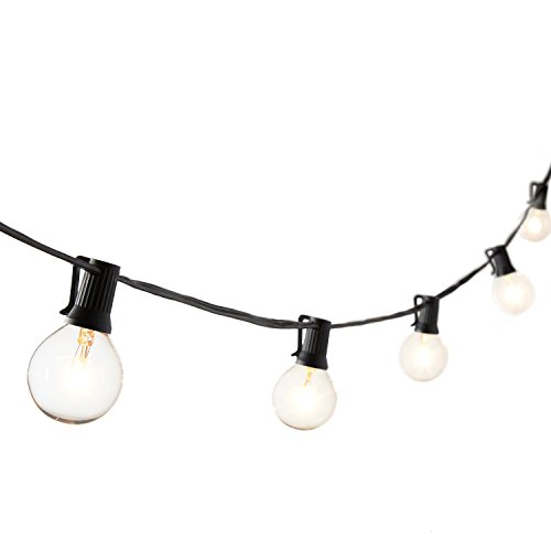 G16.5 Classic Black 28 Foot String Light with 25 Clear Globe Bulbs, Connects up to 3 Additional Strands, UL Listed, Indoor and Outdoor Use, Bulbs Included, Fuse Replacements Included (30' String)
