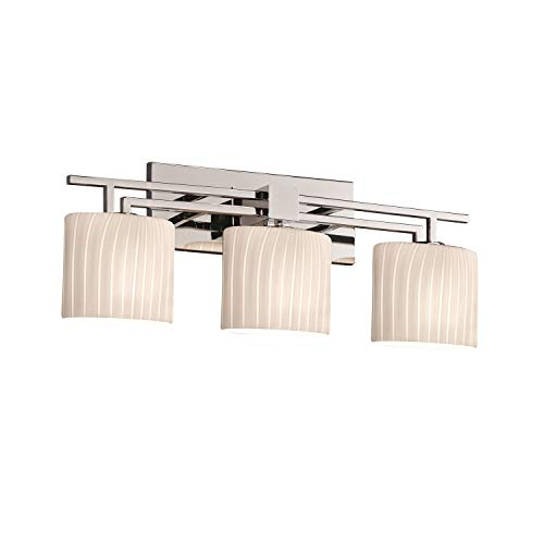 Justice Design Group Fusion 3-Light Bath Bar - Polished Chrome Finish with Ribbon Artisan Glass Shade