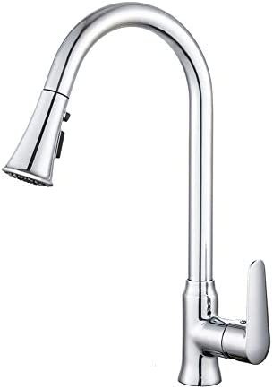 Kitchen Faucets Chrome Pull Down 2-Mode Sprayer Ceramic Valve 360 Degree Rotation Single Handle Pull out Faucet without Deck Plate Plating Polishing on Surface Brass Body