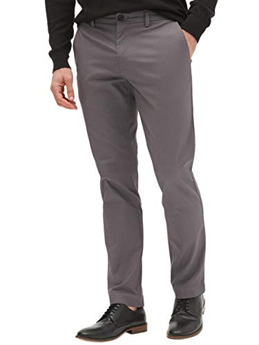 Banana Republic Mens Aiden Slim Fit Stretch Chino Pants Textured Printed Grey (33W x -