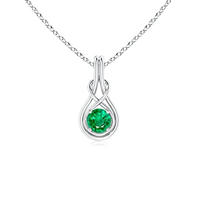 Angara Round Emerald Infinity Knot Necklace in Platinum SuKNzcL