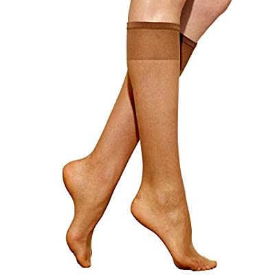 Silkies Women's Ultra Sheer Knee Highs with Energizing Support 3 Pair Pack at Women's Clothing store: Dress Socks