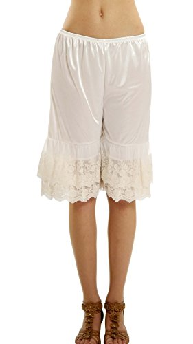Lace Satin Bloomers - Melody [Shop Lev] Women's Double Lace Snip-In Satin Pettipants, Pant Slip, Bloomer (Ivory, Large)