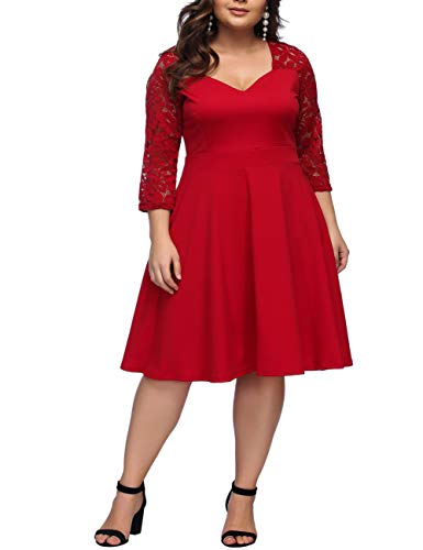 FeelinGirl Women 3/4 Sleeve A-line Swing Cocktail Party Dress Red XL