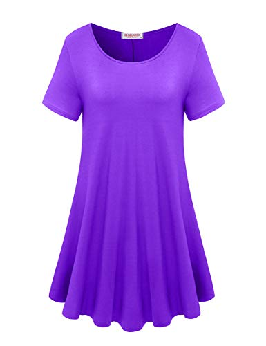 (BELAROI Women's Short Sleeve Tunic Tops Plus Size T Shirt Blouses(3X,Deep Purple))