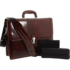 - Bosca  Men's Old Leather Collection - Double Gusset Briefcase Cognac Leather One Size