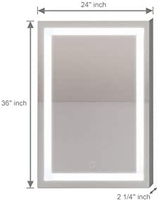 Anti Fog 3000K-6400K CASA L48 x H36 LED Bathroom Vanity Mirror Touch Sensor Dimmer Warranty Included Wall Mounted Model: CL-4800