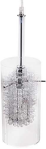 (Lite Source LS-19377 Caldwell Pendant Lamp, Chrome with Clear Glass / Aluminum)