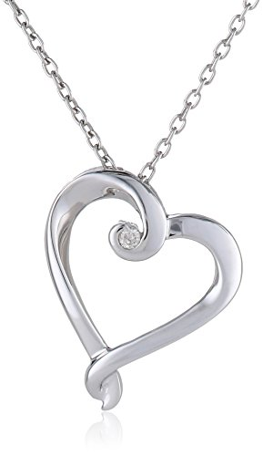 0.02 Ct Heart (Women's Sterling Silver Heart Diamond Pendant Necklace (0.02 ct, I-J Color, I2-I3 Clarity),)