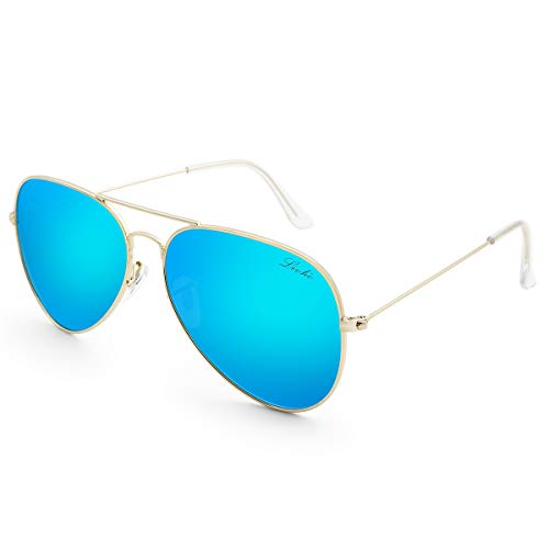 LIVHO Classic Aviator Sunglasses for Women Men Polarized,Metal Frame Mirror UV Lens Protection(Gold Deep Blue, 58)