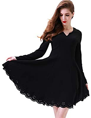 Aphratti Women's Scallop Stretchy Knit Cute Long Sleeve Fit and Flare Dress