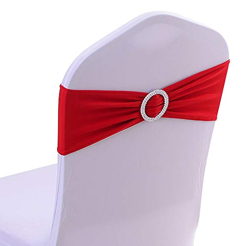 50PCS Stretch Wedding Chair Bands with Buckle Slider Sashes Bow Decorations 22 Colors (Red)