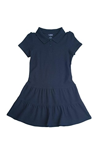 FRENCH TOAST School Uniforms Girls Ruffled Pique Polo Dress - Z9018 - Navy, 4