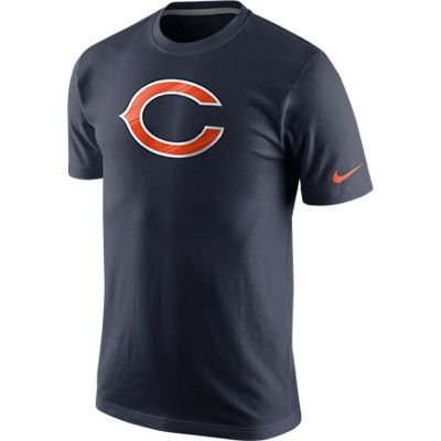 Men's Nike Chicago Bears Fast Logo Tee Marine Size - Nike Embossed T-shirt