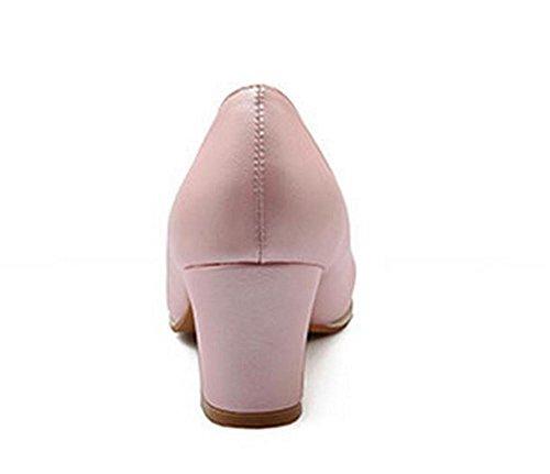Femme, rond, orteil, épais, mi, heeled, peu profond, bouche... , pink , 39