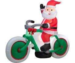 Gemmy Airblown Light Up Inflatable Santa Riding Bicycle 6' - Gemmy 6' Airblown Santa