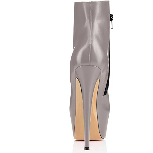 Haut Boots Bottes Bottines Classiques Elashe Talons Mode Cheville Automne Gris Femme 15cm Hiver PgwfwIOqx