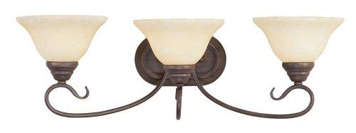 New Imperial Bronze Finish - Livex Lighting 6103-58 Coronado 3 Light Imperial Bronze Vanity with Vintage Scavo Glass
