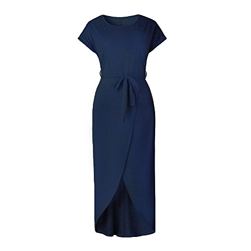 Women Dress,Hot Sale!Leedford New Summer Women Boho Tube Top Solid Sundress Maxi Evening Party Beach Ankle Long Dress (Navy, S)