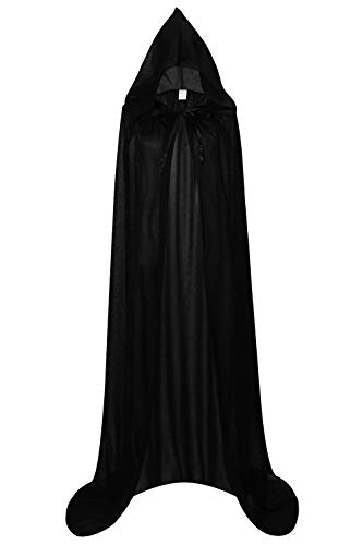 Unisex Halloween Cape Hooded Cloak Cosplay Christmas Party Adult Costume Outerwear (L, Black) -
