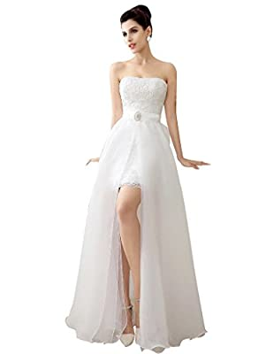 CLOVERDRESS Beach Wedding Dresses Two Pieces Lace Tulle Bridal Dress with Detachable Skirt Prom Party Gown