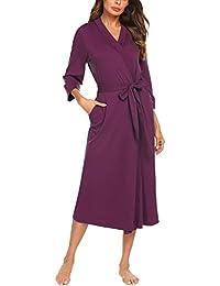 ada71a15f618 Women Kimono Robes Cotton Lightweight Long Robe Knit Bathrobe Soft Sleepwear  V-Neck Ladies Loungewear