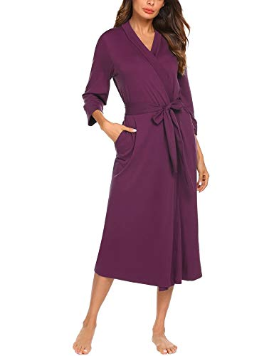 (MAXMODA Women Soft Cotton Bathrobe Lightweight Lounge Hospital Robes (Purple Red,XXL))