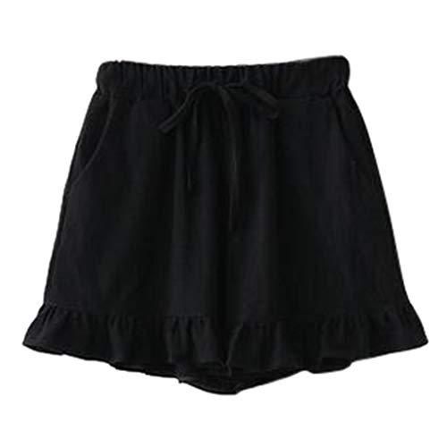 Botrong Women Cotton Linen Loose Shorts Ruffle Trousers Summer Beach Cropped Pants Plus (Black,)
