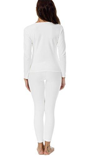 HieasyFit Women's Cotton Thermal Sets 2pcs Underwear Top & Bottom Pajama with Fleece Lined(Ecru XL) by HieasyFit (Image #5)