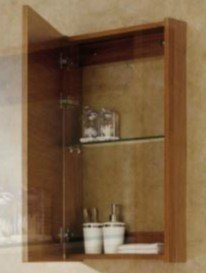 Bathroom Medicine Cabinet, Mirrored - Surface Mount, Wood, Wheat by Premium Furniture