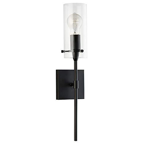 (Effimero Vanity Light Fixture – Black w/Clear Cylinder - Linea di Liara LL-WL31-BLK)