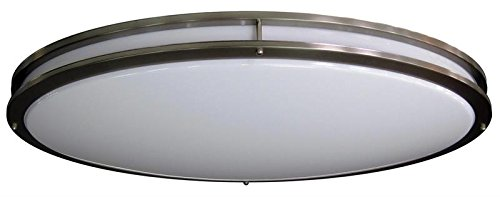 HC Lighting - Jumbo Sized - Dimmable LED Ceiling Fixtures 70 Watt Warm White 120 Volt Input In Nickel Finish Trim and Opal White Lens (32.5