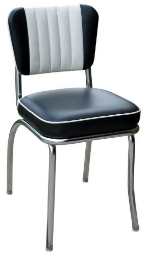 Richardson Seating Retro 1950s Diner Chair In Black And White With 2u0026quot;  ...