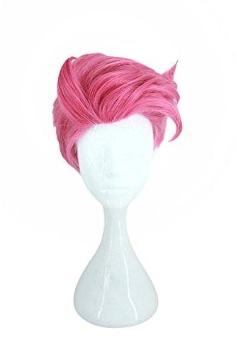 Anime Game Characters Short Cosplay Wig Halloween Costume Party Rose Red Hair