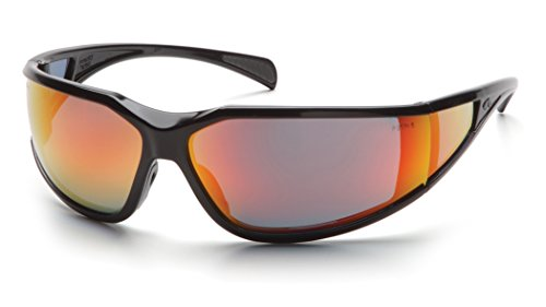 Pyramex Exeter Safety Eyewear, Sky Red Mirror Anti-Fog Lens With Black Frame