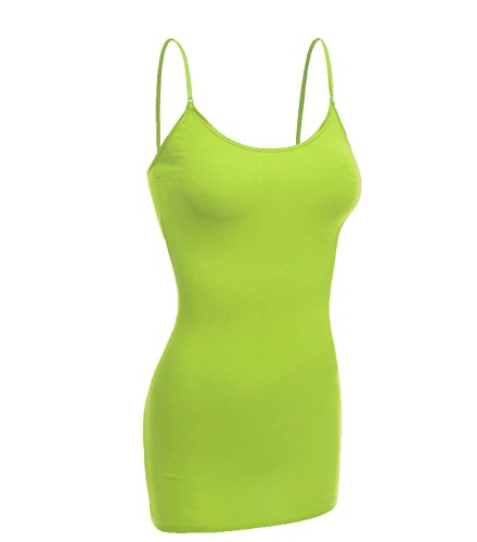 Emmalise Women Camisole Built in Bra Wireless Fabric Support Long Layering Cami, Small, Lime