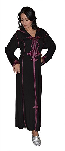 Moroccan-Caftans-Women-Hand-Made-Djellaba-Embroidered-Size-Large-Black