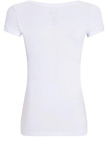 oodji Ultra Mujer Camiseta con Estampado de Estilo Marinero Blanco (1091P)