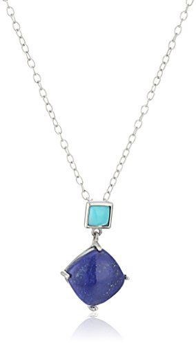 Sterling Silver Turquoise and Lapis Geometric Pendant Necklace, ()