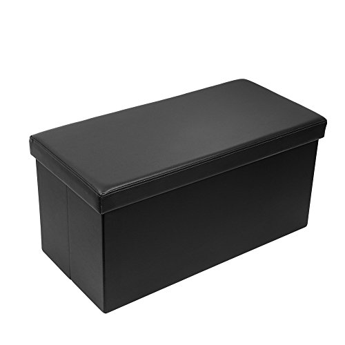 Amoiu 30'' L Faux Leather Folding Storage Ottoman Coffee Table Foot Rest Stool Seat Comfy Sponge Bench, Black by Amoiu