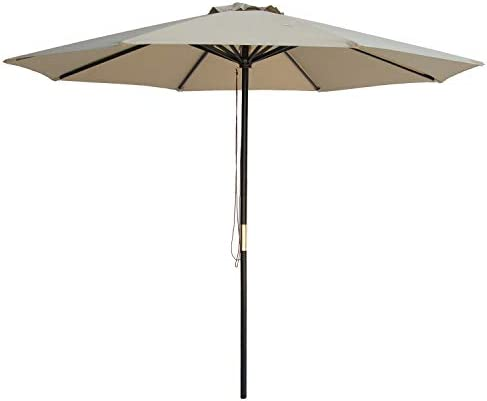 SUNBRANO 9 Ft Wood Frame Patio Umbrella Outdoor Garden Cafe Market Table Umbrella Pulley Lift