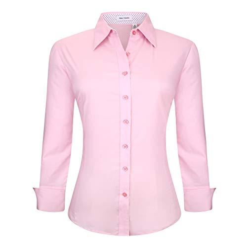 - Alex Vando Womens Dress Shirts Regular Fit Long Sleeve Cotton Stretch Work Shirt,Pink,M